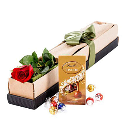 Single Stem Red Rose With Chocolate:Flowers and Chocolates Delivery in Australia
