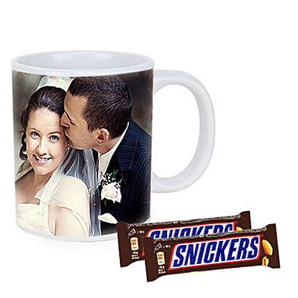 Snickers With Personalised Mug Combo:Send Personalised Gifts to Australia