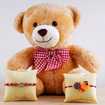 Teddy Bear And Rakhi Set:All Rakhi - Australia