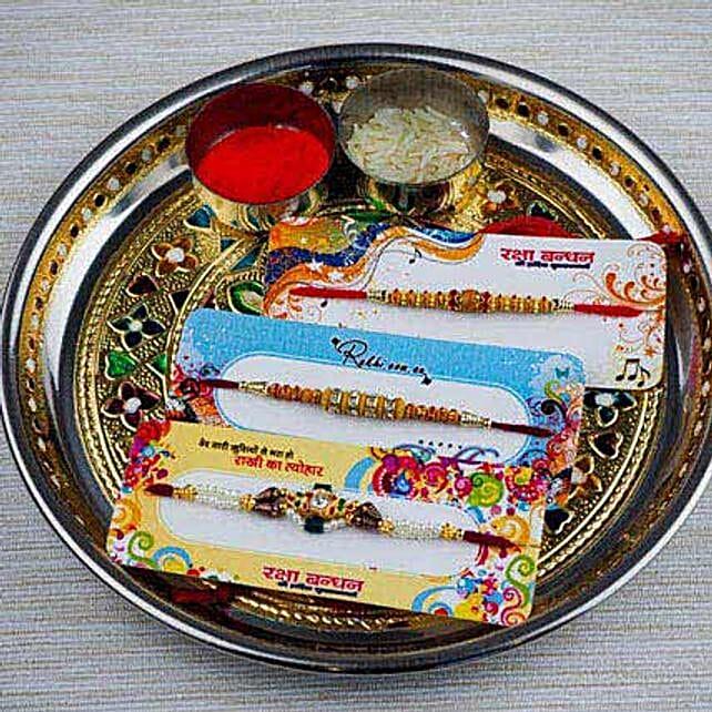 Three Family Rakhi Set with Puja Thali