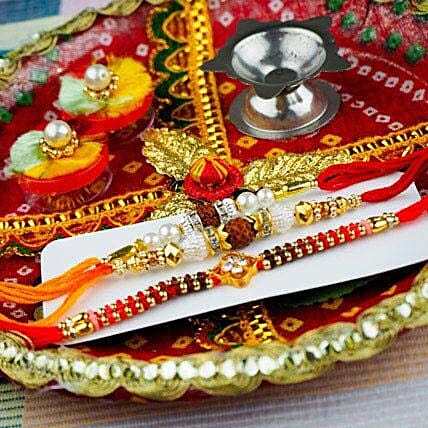 Three Popular Rakhi with Traditional Thali