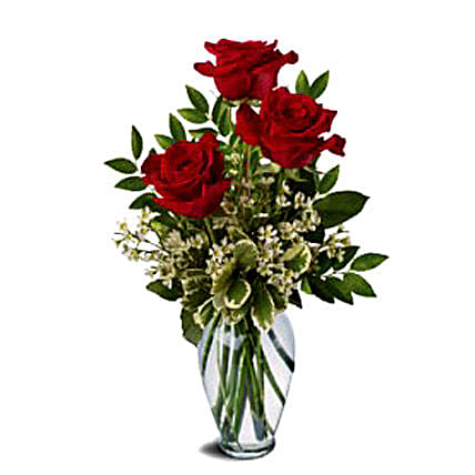 Three Red Roses Bunch