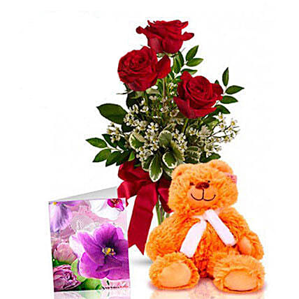 Three Red Roses With Teddy:Womens Day Gifts to Australia