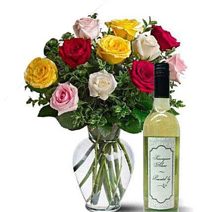 Mixed Roses With Wine
