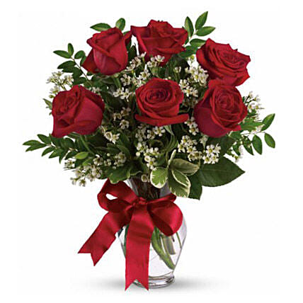 Six Long Stemmed Red Roses Bouquet