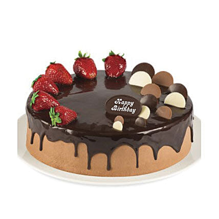 Double Chocolate Strawberry Cake:Send Birthday Cakes to Australia