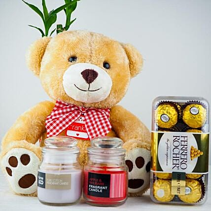 Teddy With Rocher And Candles For Diwali