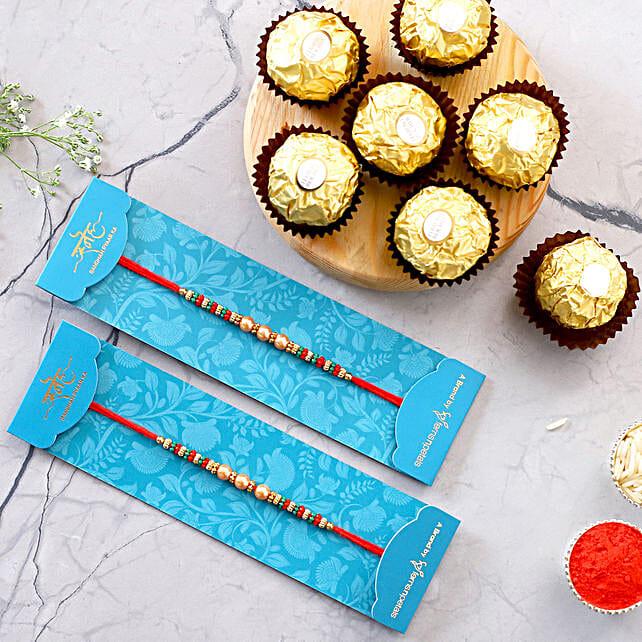 Pearl Mauli Rakhi Set And 3 Pcs Ferrero Rocher