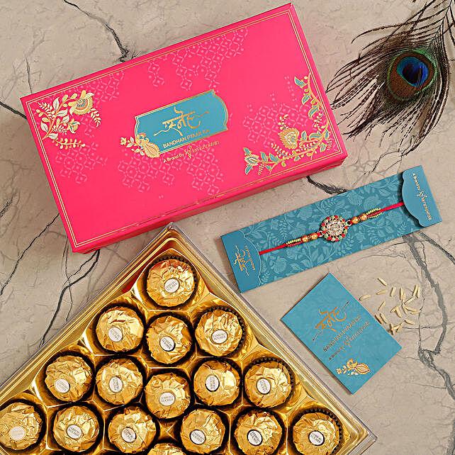 American Diamond Floral Rakhi And 16 Pcs Ferrero Rocher