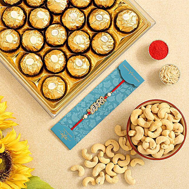 English Veera Rakhi And Cashew With Ferrero Rocher