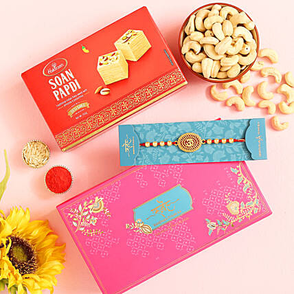 Om Pearl Rakhi And Cashew With Soan Papdi