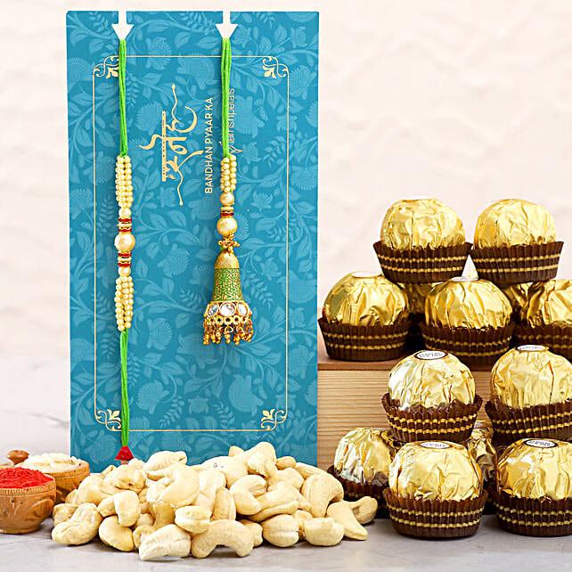 Ethnic Lumba Rakhi Set And Cashew With Ferrero Rocher