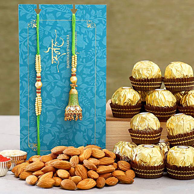 Ethnic Lumba Rakhi Set And Almonds With Ferrero Rocher:Rakhi with Dry Fruits to Australia