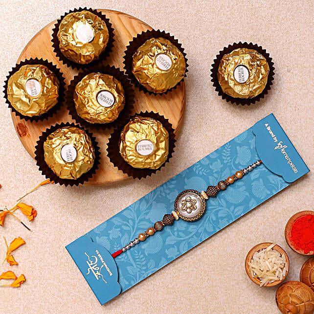 Ethnic Pearl Designer Rakhi And 3 Pcs Ferrero Rocher