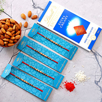 4 Pearl Mauli Rakhis With Almonds And Lindt Chocolate