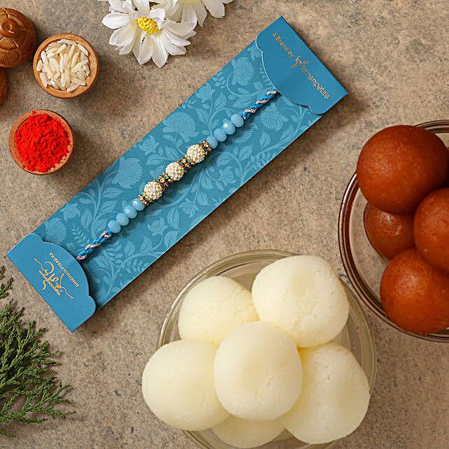 Sea Blue Pearl Rakhi With Gulabjamun And Rasgulla:Rakhi with Sweets to Australia