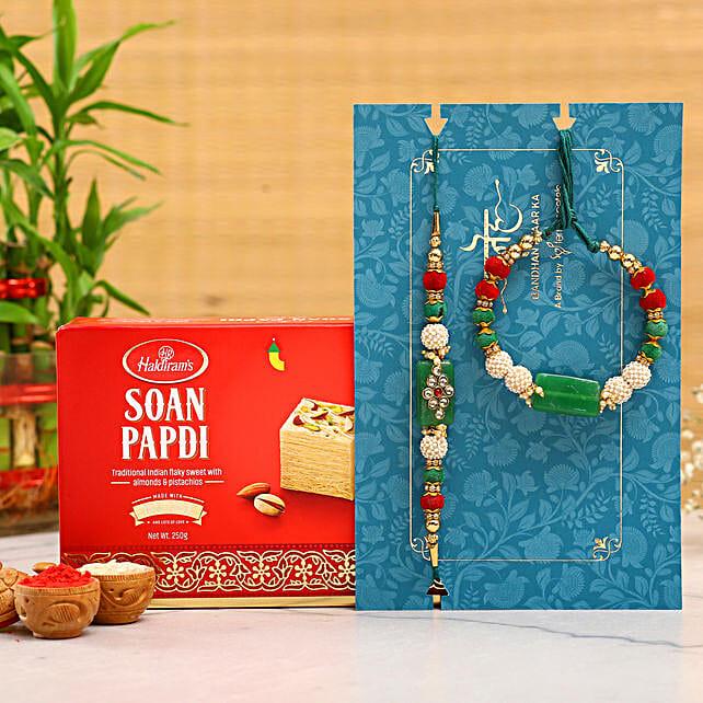 Green Pearl And Lumba Rakhi Set With Soan Papdi