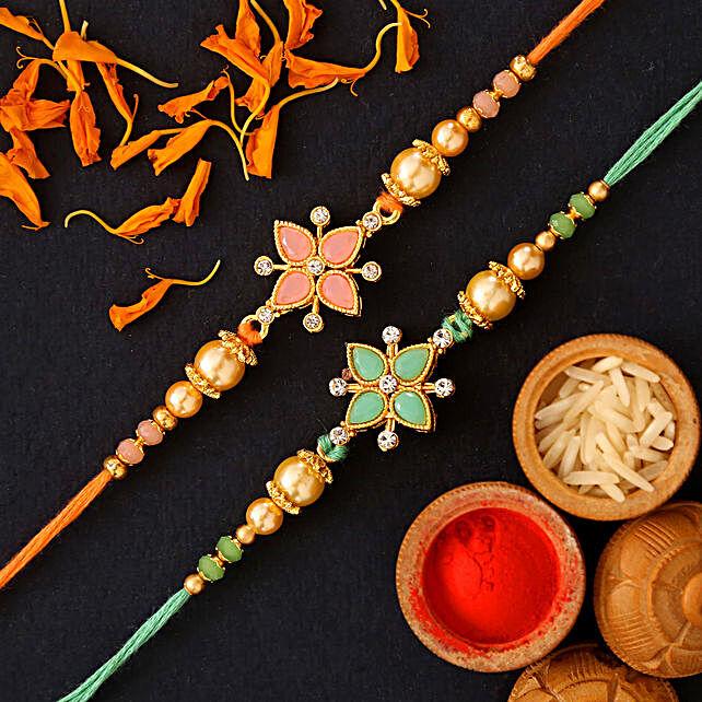 Green Stone And Orange Stone Floral Rakhi Set