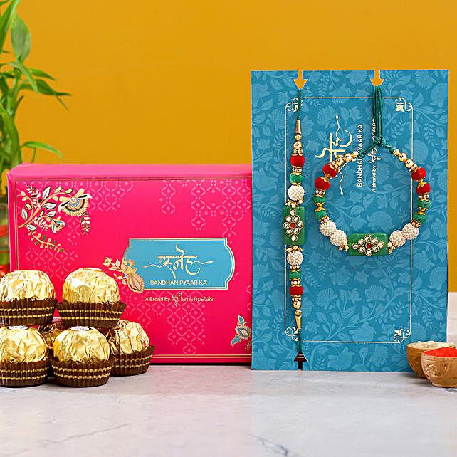 Green Pearl And Lumba Rakhi Set With 3 Pcs Ferrero Rocher
