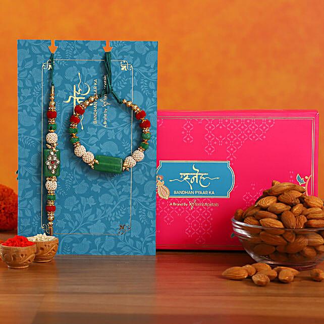Green Pearl And Lumba Rakhi Set With Healthy Almonds
