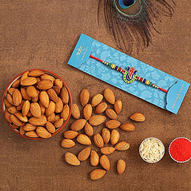 Multicoloured Lord Ganesha Rakhi And Healthy Almonds