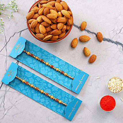 Traditional Pearl Studded Rakhi Set And Healthy Almonds