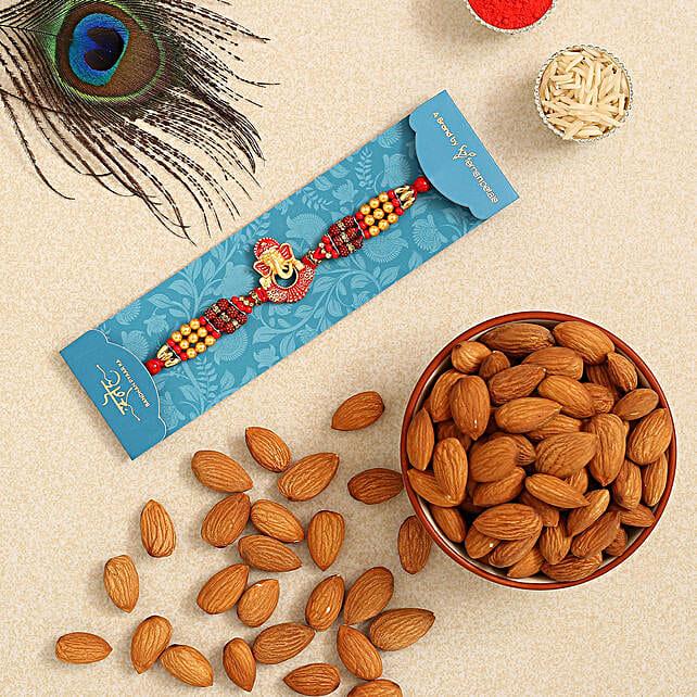 Ganesha And Rudraksha Rakhi With Healthy Almonds