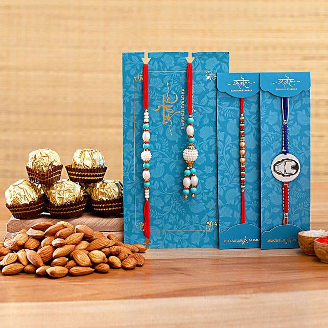 Family Rakhi Set With Almonds And Ferrero Rocher