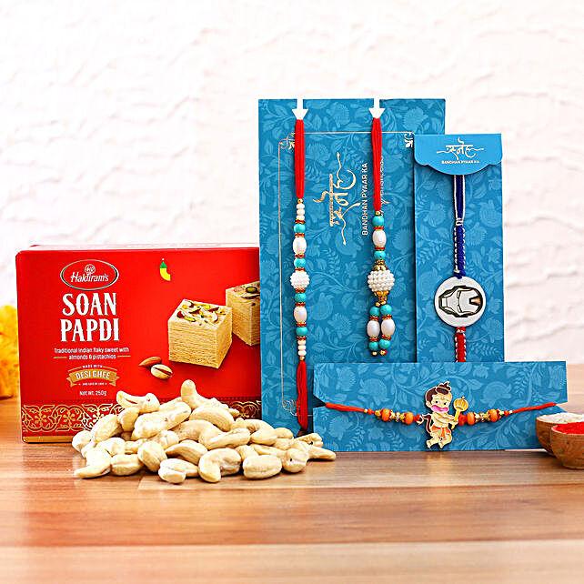 Blue Lumba Rakhi Set And 2 Kids Rakhi With Cashew And Soanpapdi