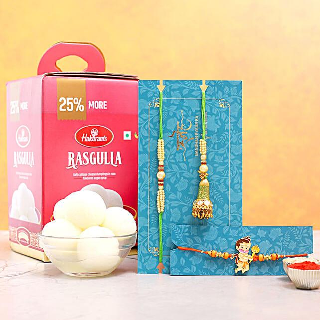 Lumba Rakhi Set And Kids Rakhi With Rasgulla:Send Rakhi for Bhaiya Bhabhi to Australia