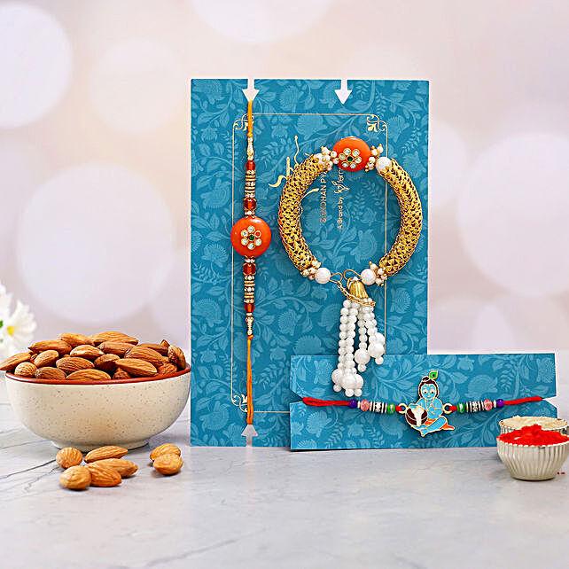Orange Pearl Rakhi Set And Bal Krishna Rakhi With Healthy Almonds