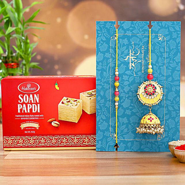 Jhumki Style Pearl Lumba Rakhi Set With Soan Papdi