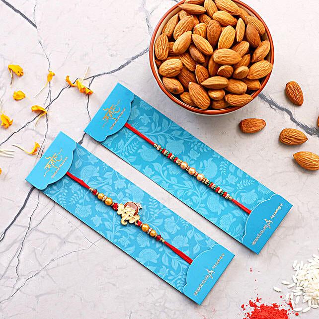 Pearl Mauli And Bal Ganesha Rakhi With Healthy Almonds