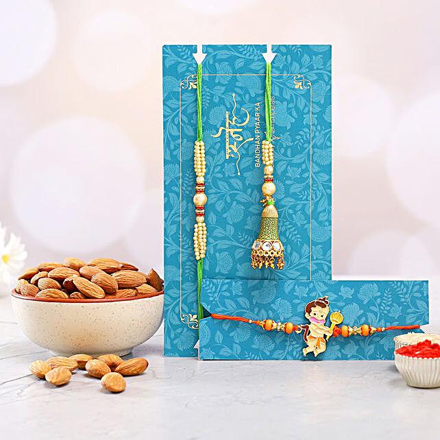 Bal Hanuman And Green Lumba Rakhi Set With Healthy Almonds:Pearl Rakhi to Australia
