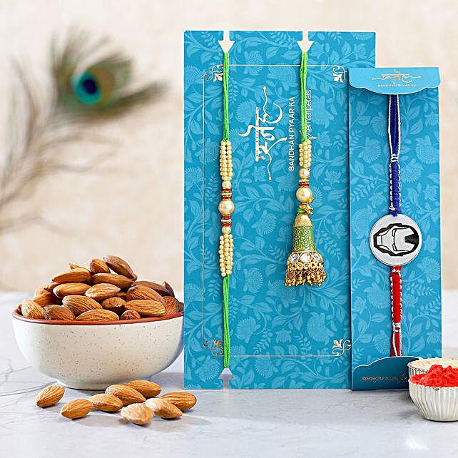 Green Lumba Rakhi Set And Ironman Rakhi With Healthy Almonds