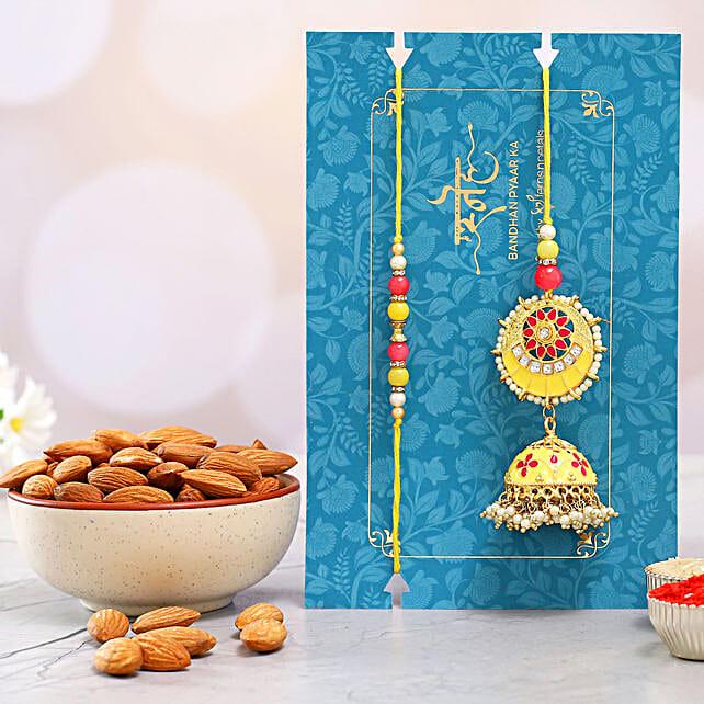 Jhumki Style Pearl Lumba Rakhi Set With Healthy Almonds