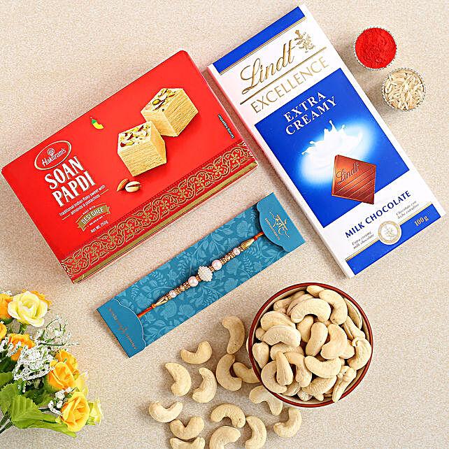 White Pearl Rakhi And Soan Papdi Hamper:Send Rakhi With Sweets to Australia
