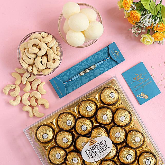 Sea Blue Pearl Rakhi Sweet Treat Hamper:Rakhi with Sweets to Australia
