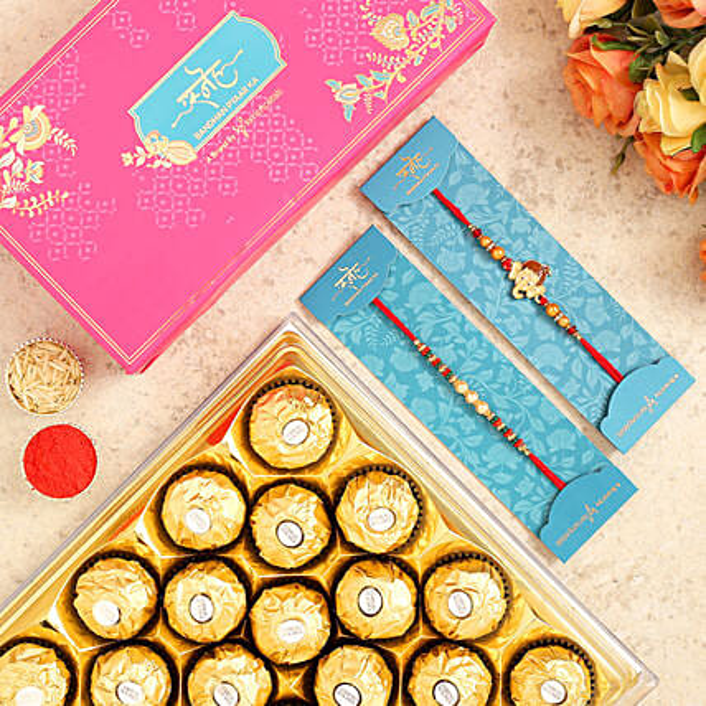 Pearl Mauli And Bal Ganesha Rakhi With 16 Pcs Ferrero Rocher
