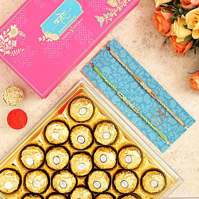 Designer Stone Rakhi Combo And 16 Pcs Ferrero Rocher:Designer Rakhi to Australia