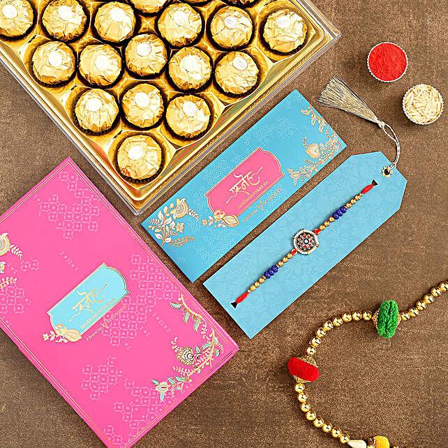 Meenakari Pearl Designer Rakhi And 16 Pcs Ferrero Rocher