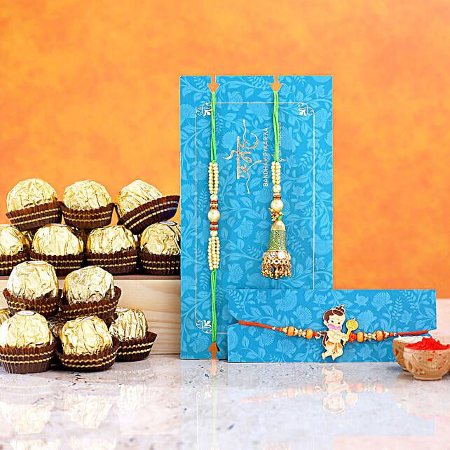 Bal Hanuman And Green Lumba Rakhi Set With 16 Pcs Ferrero Rocher