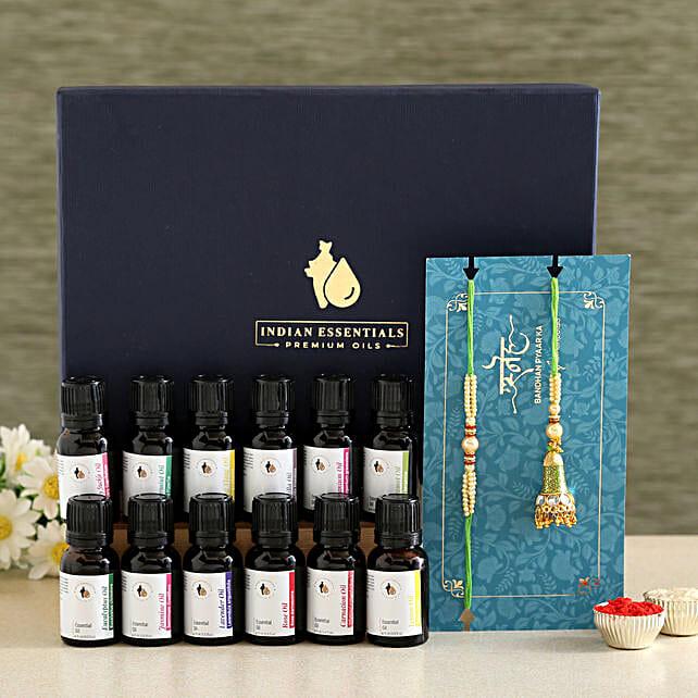 Green Lumba Rakhi Set And Essential Oils Combo