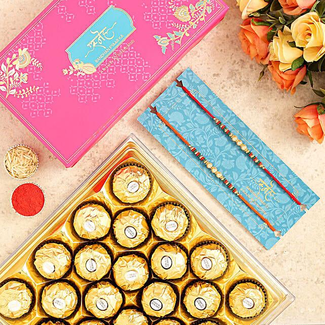 Pearl Mauli Rakhi Set And 16 Pcs Ferrero Rocher