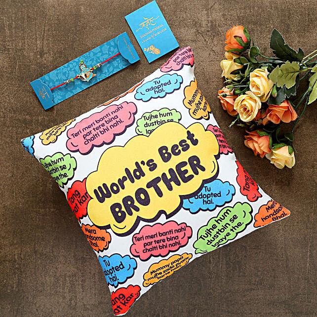Bal Krishna Kids Rakhi And Worlds Best Brother Cushion