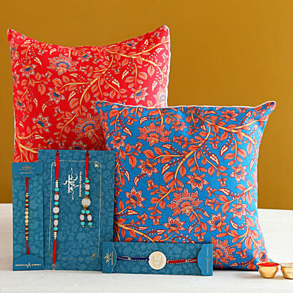 Family Rakhi Set With 2 Floral Print Cushions:Rakhi With Personalised Gifts to Australia