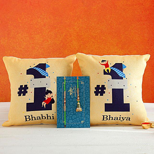 Green Lumba Rakhi Set And 2 Bhaiya Bhabhi Cushions:Rakhi With Personalised Gifts to Australia