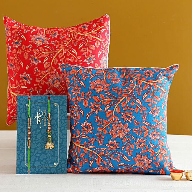 Green Lumba Rakhi Set And 2 Floral Print Cushions:Rakhi With Personalised Gifts to Australia