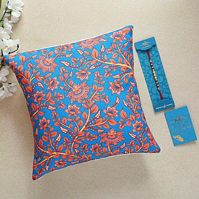 Pearl Rakhi And Floral Print Cushion