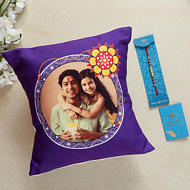 Pearl Rakhi And Personalised Cushion